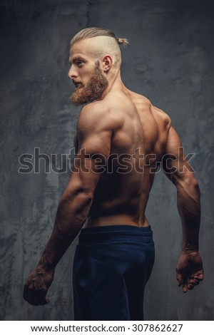 shirtless muscular guy back isolated on stock photo edit now