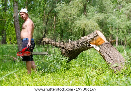 Shirtless muscular man standing next to a newly felled tree with a chainsaw as he collects wood to be burnt as fuel in the camp fire - stock photo