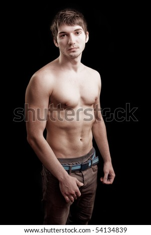 Shirtless young man with fit sexy body