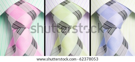 shirts and fashion ties. collage - stock photo