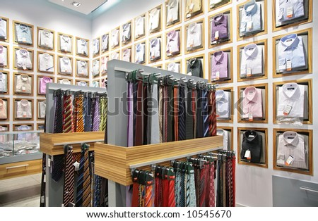 shirts and neckties in shop - stock photo