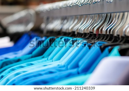 Shirts hanging on a rack