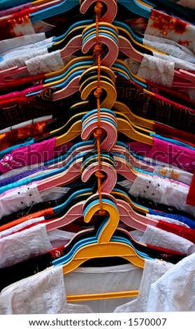 Shirts in the market (India). - stock photo