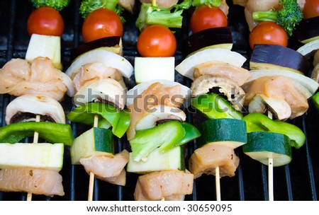 Shish-kabobs on a barbecue. - stock photo