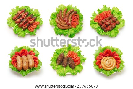 Shish kebab and sausages  set on white background - stock photo