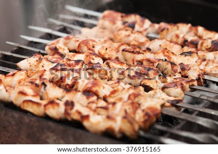 Shish kebab in process of cooking on open fire outdoors - stock photo