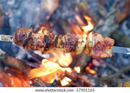 shish kebab on skewers and hot coal - stock photo