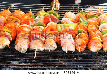 Shish kebab on skewers on hot barbecue grill - stock photo
