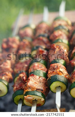 Shish kebab with vegs and mix of spices on bbq - stock photo