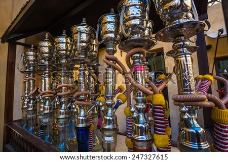 Shisha pipes hookah on the streets of the Old Town in Dubai - stock photo