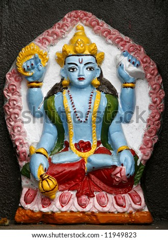 Shiva moulding in temple on annapurna, nepal - stock photo