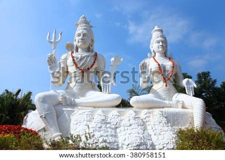 Shiva Parvathi statues on Kailasagiri hill in Andhra Pradesh state India - stock photo