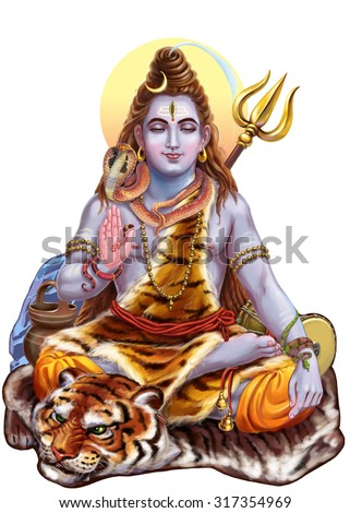 Shiva which is part of the divine triad trimurti. Raster illustration - stock photo