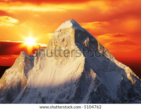 Shivling peak on sunset - stock photo