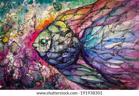 Shoal of fish on the coral reef.Picture created with watercolors. - stock photo
