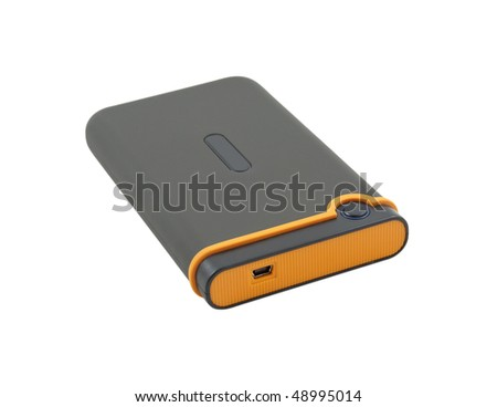 Shock-resistant external portable hard drive isolated on a white background - stock photo
