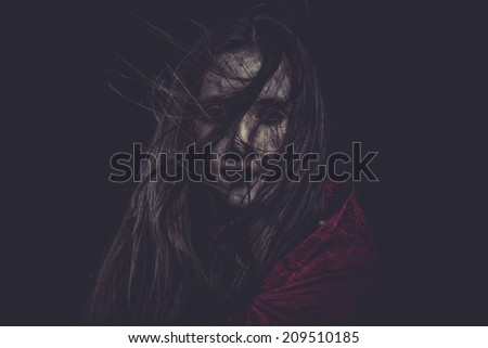 Shock, Young girl with hair flying, concept nightmares - stock photo
