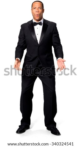 Shocked African man with short black hair in evening outfit talking with hands - Isolated