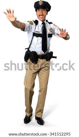 Shocked African young man with short black hair in uniform screaming - Isolated - stock photo