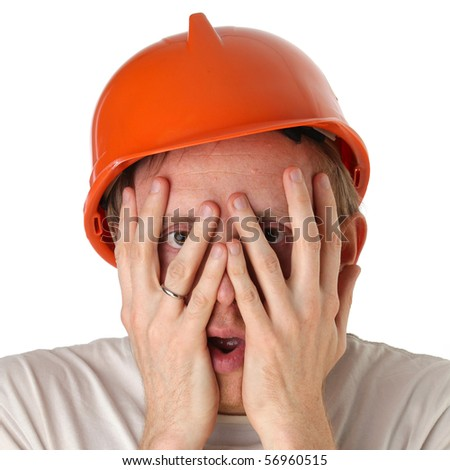 Shocked and surprised builder craftsman isolated on a white background - stock photo