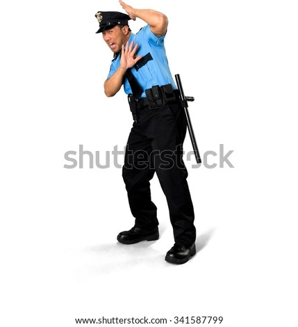 Shocked Asian man with short black hair in uniform defending with body - Isolated