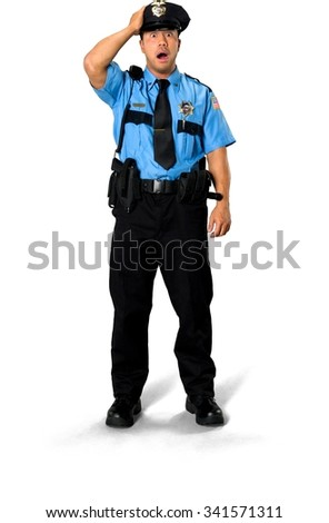 Shocked Asian man with short black hair in uniform with hands on head - Isolated