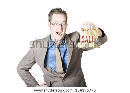 Shocked business man holding sale cash back bag when getting a markdown discount  - stock photo