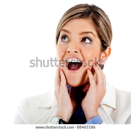 Shocked business woman portrait - isolated over a white background