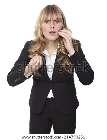 Shocked Business Woman While Calling on Phone, Looking into Camera. Isolated on White - stock photo