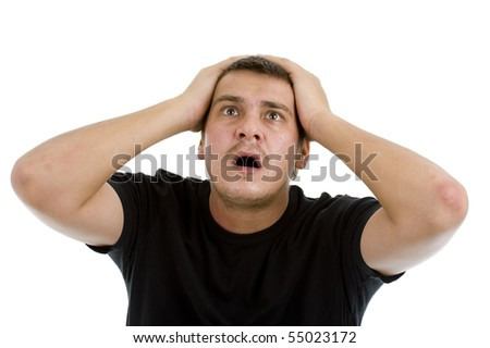 shocked caucasian man, isolated on white background - stock photo