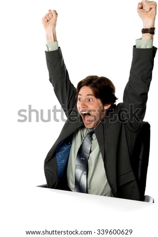 Shocked Caucasian man with short dark brown hair in business formal outfit with arms open - Isolated