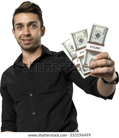 Shocked Caucasian man with short dark brown hair in casual outfit holding money - Isolated