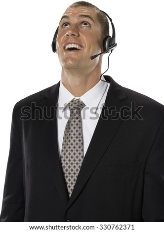 Shocked Caucasian man with short medium brown hair in business formal outfit using headset - Isolated