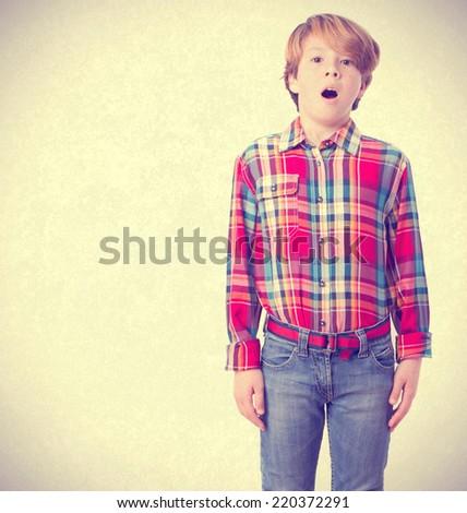 Shocked child posing - stock photo