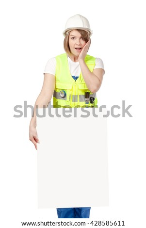 shocked construction female worker holding blank board with empty copy space for you text isolated on white background. advertisement banner. your text here - stock photo