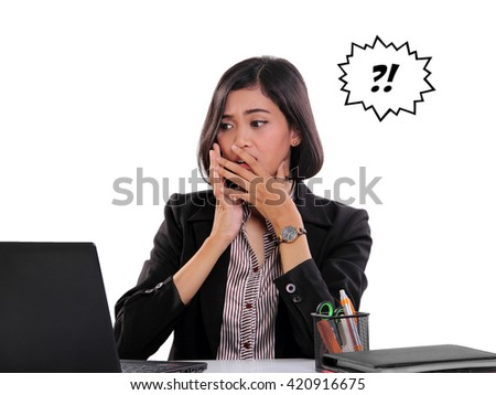 Shocked face expression of a businesswoman seeing something on laptop screen, isolated on white background - stock photo
