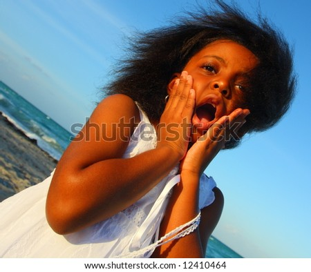 Shocked facial expression - stock photo