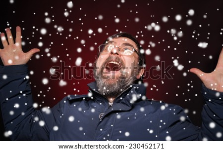 Shocked happy man. Christmas and holidays concept