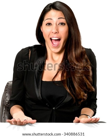 Shocked Hispanic young woman with long dark brown hair in casual outfit screaming - Isolated