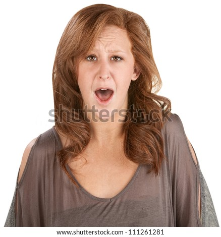 Shocked isolated woman with mouth wide open - stock photo