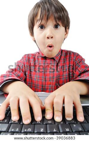 Shocked kid on laptop - stock photo