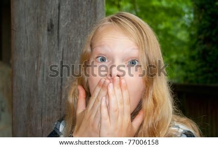 Shocked Lady - stock photo