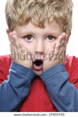Shocked little boy - stock photo