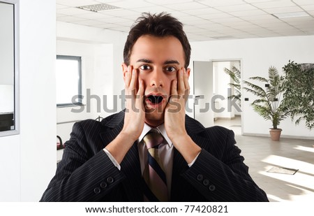 Shocked man - stock photo