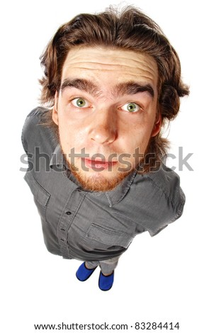 shocked man over white - stock photo