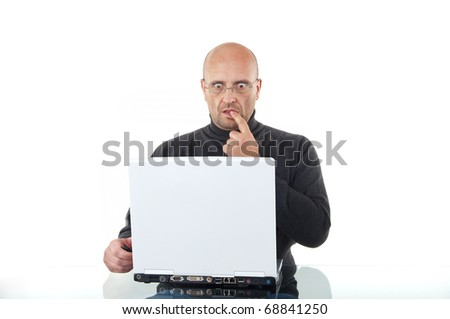 Shocked man working with his laptop isolated over white - stock photo