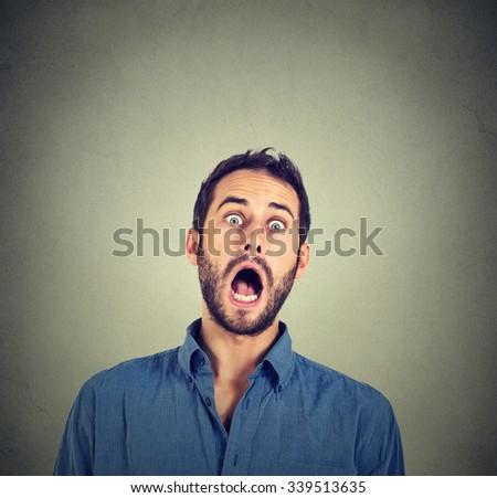 shocked scared man - stock photo