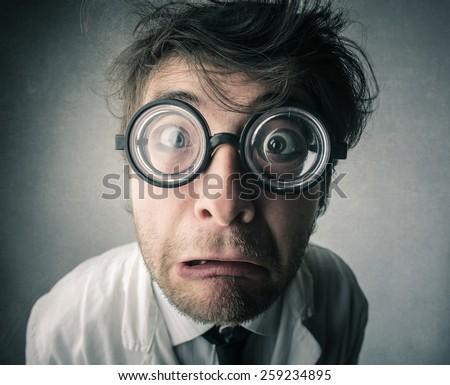 Shocked scientist  - stock photo