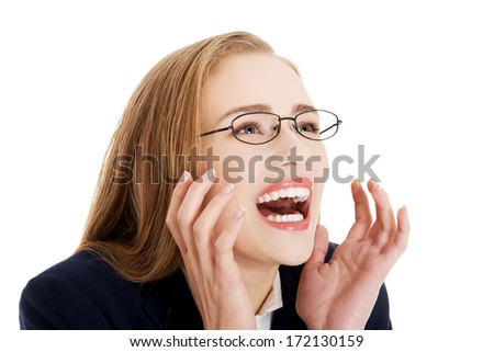 Shocked, surprised beautiful business woman. Isolated on white. - stock photo