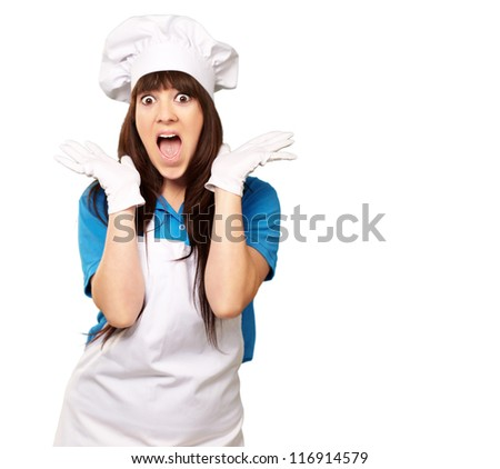 Shocked Woman cook against a White Background